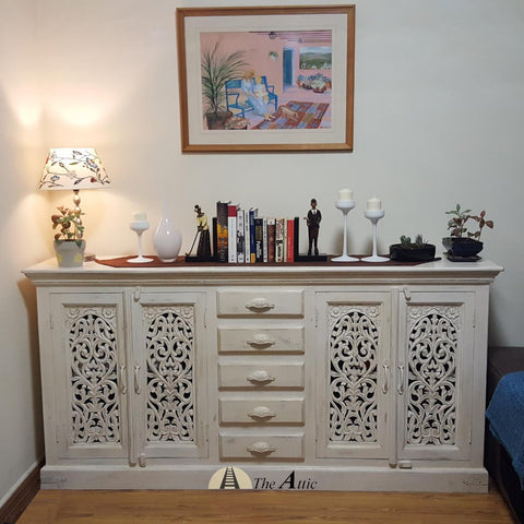 Carved Sideboard with Cabinets and 5 Drawers credenza hutch