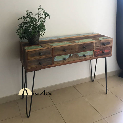 Colorful Reclaimed Wood Hairpin Leg Console with 6 Drawers