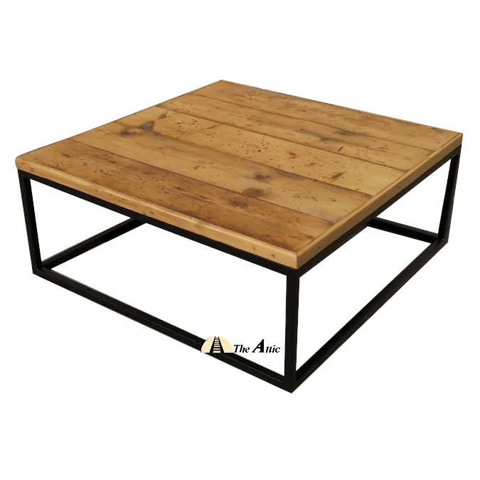 Square Reclaimed Pine Coffee Table - The Attic Dubai