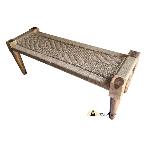 Hand-woven Charpai Bench, Dark Honey sutli