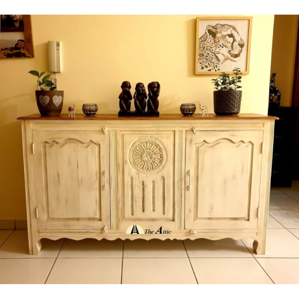 French Carved Chateau Cream and Brown Sideboard Cabinet