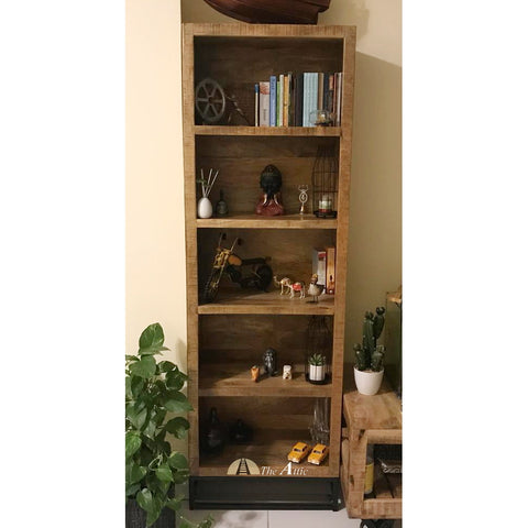 Rustic 5 Shelf Wooden Narrow Bookcase The Attic Dubai