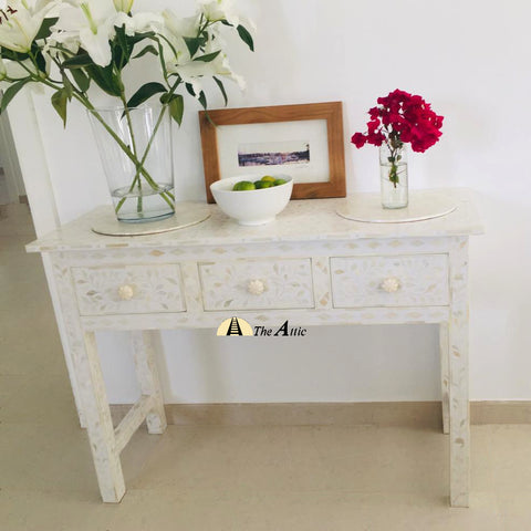 White Bone Inlay Console with Drawers
