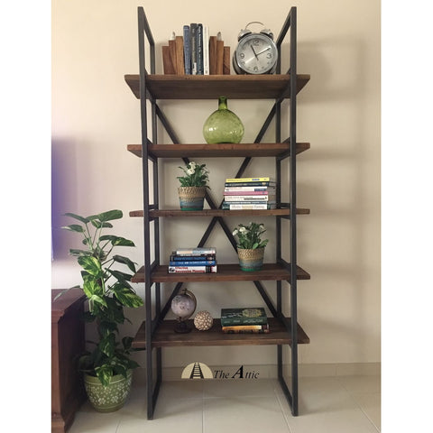 Industrial X-Shelf reclaimed wood pine bookshelf bookcase
