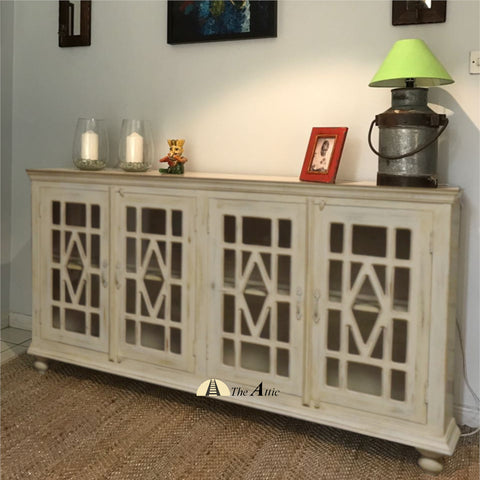 Buffet Cabinet with Diamond Glass Doors - The Attic Dubai