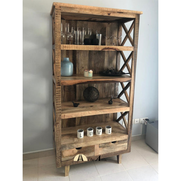 Rustic Solid Wood X-Frame 4-Tier Shelf with 2 Drawers
