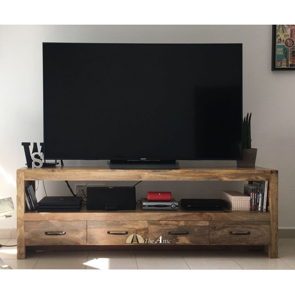 Wooden 4-Drawer TV Unit