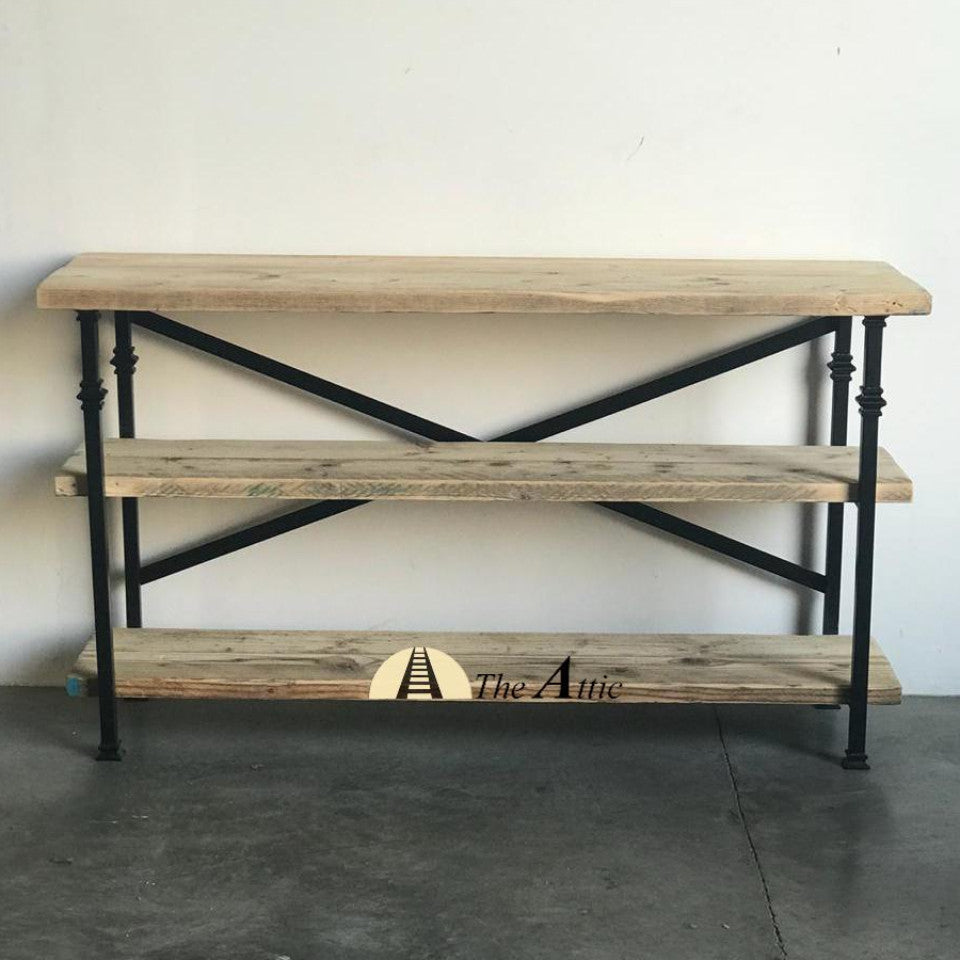 Archer 3-Tier Industrial Console Reclaimed Solid Wood