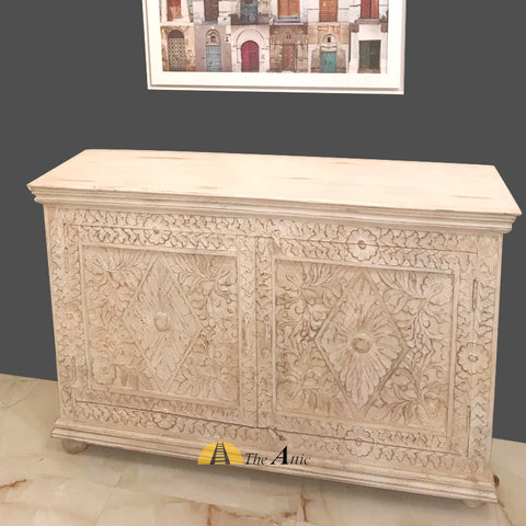 Distressed White Diamond 2-Door Buffet Cabinet