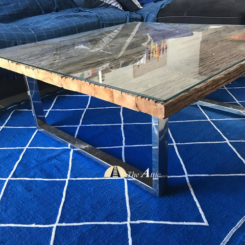 Sleeper Wood Coffee Table with Chrome Stainless Steel Legs