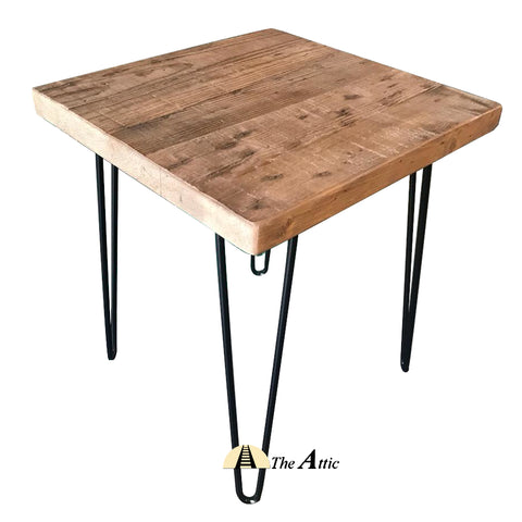 Reclaimed Pine Hairpin Side Table - The Attic Dubai