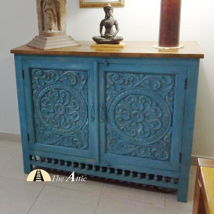 Blue Hand Carved 2-Door Buffet Sideboard