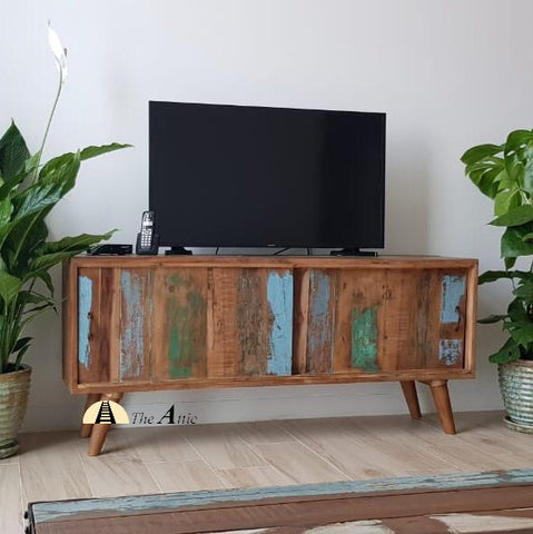 Reclaimed solid Wood Mid-Century Sliding Door TV Unit recycled boho sustainable furniture