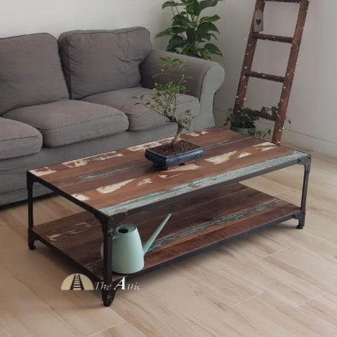 Reclaimed Wood Industrial Metal Coffee Table with Shelf