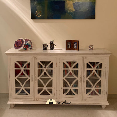 4-Door Sideboard Buffet with Glass Doors
