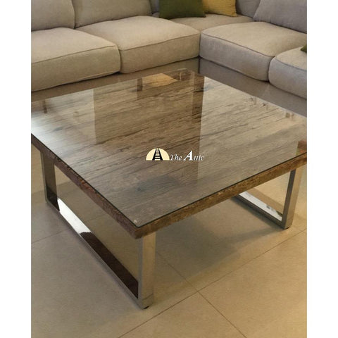Sleeper Wood Coffee Table with Chrome Stainless Steel Legs The Attic Dubai UAE