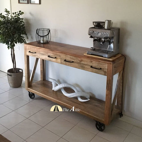 Industrial Coffee Station Console with 2 Drawers and Shelf