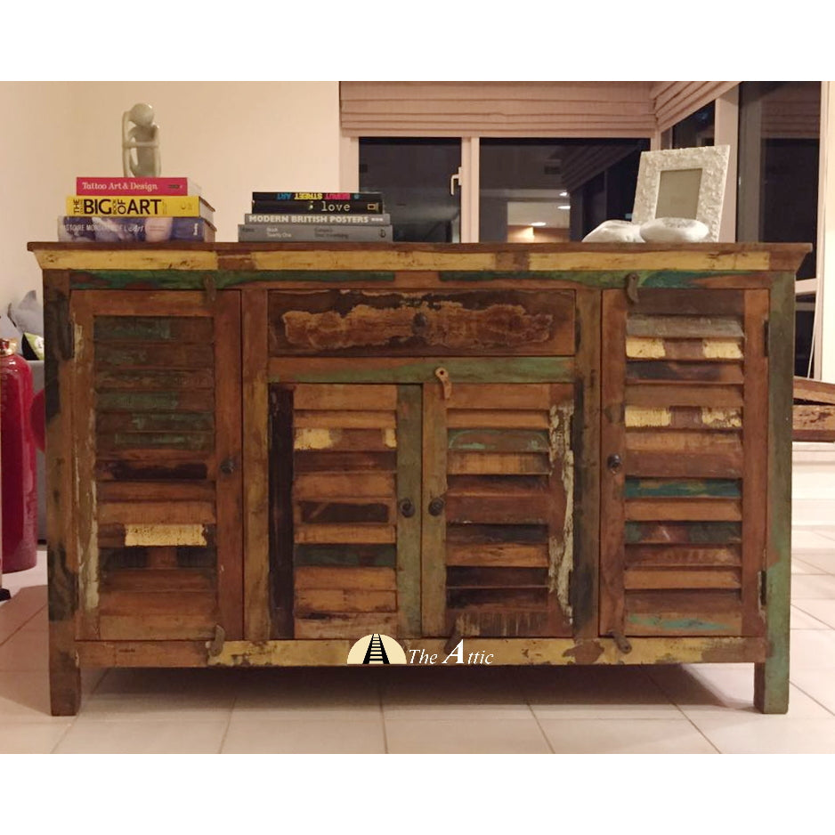 Reclaimed Wood 4 Door 1 Drawer Sideboard, theattic-dubai.com