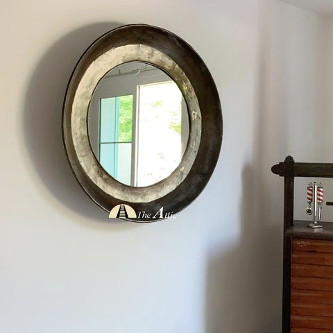 Large Vintage Iron Parat Round Wall Mirror - The Attic Dubai