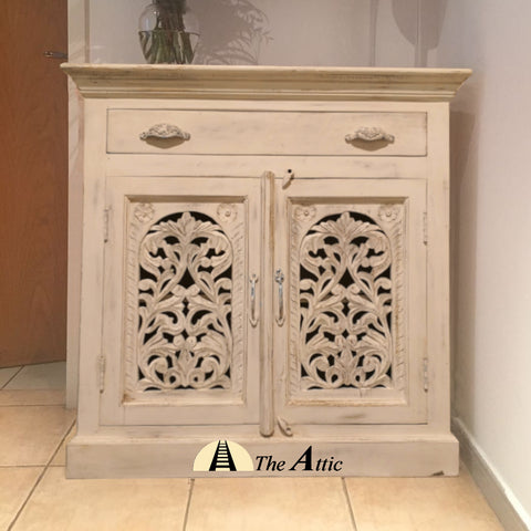 Carved 2-Door 1-Drawer Side Unit Sideboard Cabinet The Attic Dubai UAE