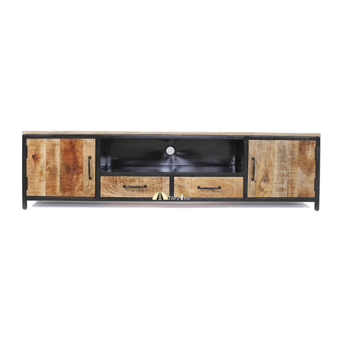 Industrial 2-door 2-drawer TV Unit, media entertainment center
