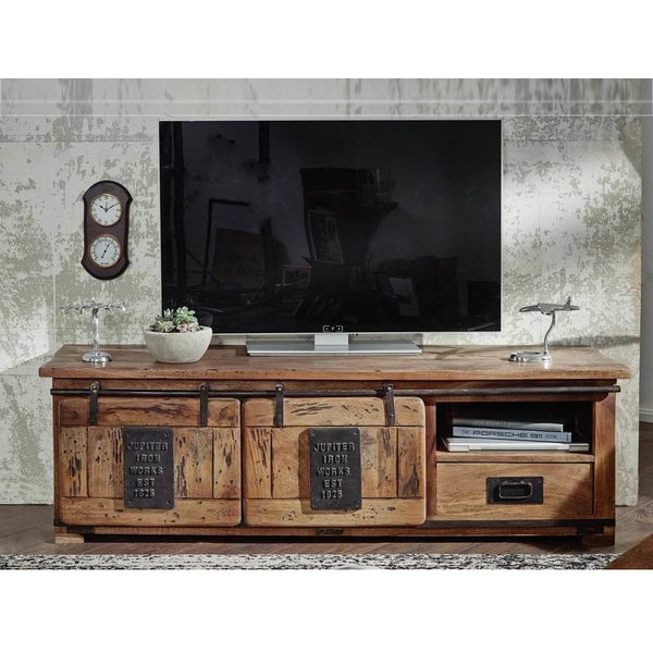 Rustic Industrial Sliding Door TV Unit 160cm Jupiter Iron Works
