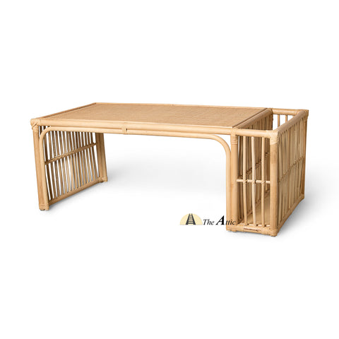 Joanna Natural Rattan Coffee Table with Magazine Rack, Rattan Furniture - TheAttic-Dubai.com