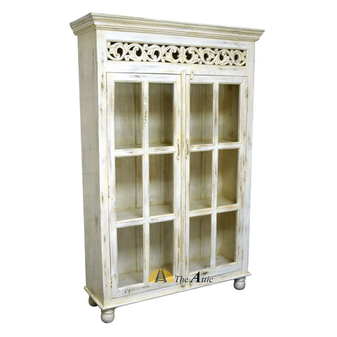 Glass-fronted Display Cabinet with Carved Frame