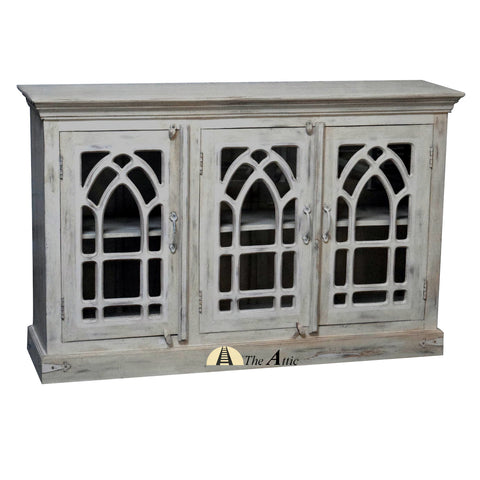 Arched 3-Door Glass Pane Buffet Sideboard