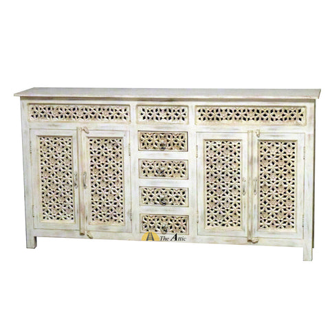 Carved Sideboard with Cabinets and Drawers