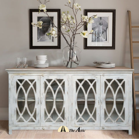 Perle 4-Door Glass Pane Sideboard Cabinet Buffet