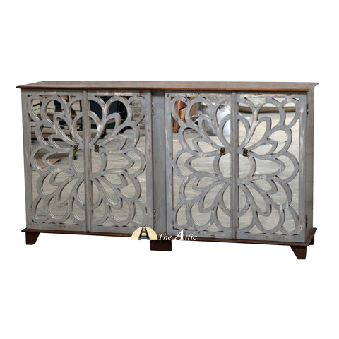 Floral Grey 4-Door Mirrored Sideboard Flower Pattern Carved Buffet