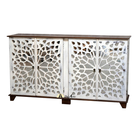 Star-burst White 4-Door Mirrored Sideboard