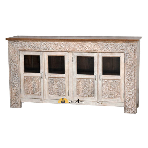 Distressed Tan 4 Door Sideboard with Carved Frame