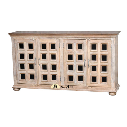 Rustic 4-Door Rectangular Glass Pane Buffet Sideboard