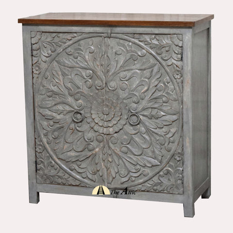 Rustic Grey Carved 2-Door Side Cabinet