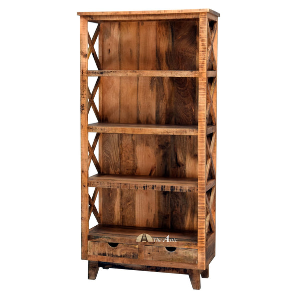 Rustic 4-Tier Shelf with 2 Drawers