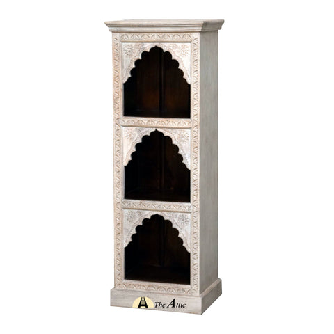 Carved Ornate Wood Narrow Bookshelf
