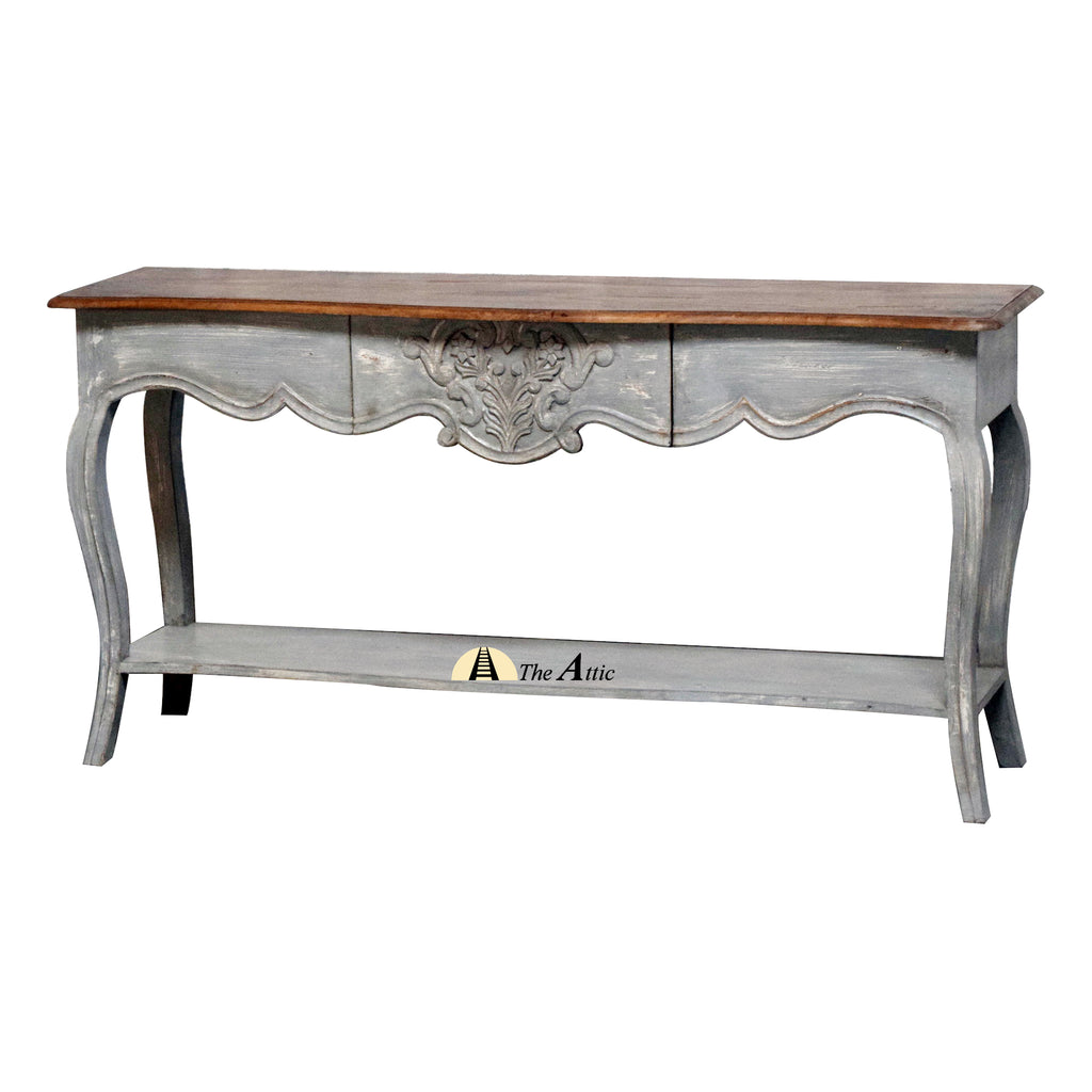 Grey Curved Leg Console with Drawer