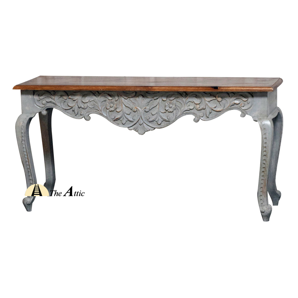 Grey and Brown Curved Leg Console