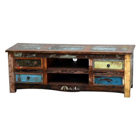 Reclaimed Wood 4-Drawer TV Stand Media Unit, 150cm