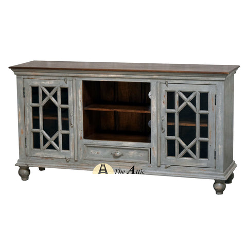 Chippendale Glass Door Media Unit Entertainment Center Console