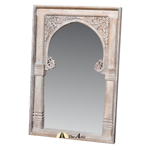 Carved Distressed Rustic Wooden Wall Mirror with Arched Frame