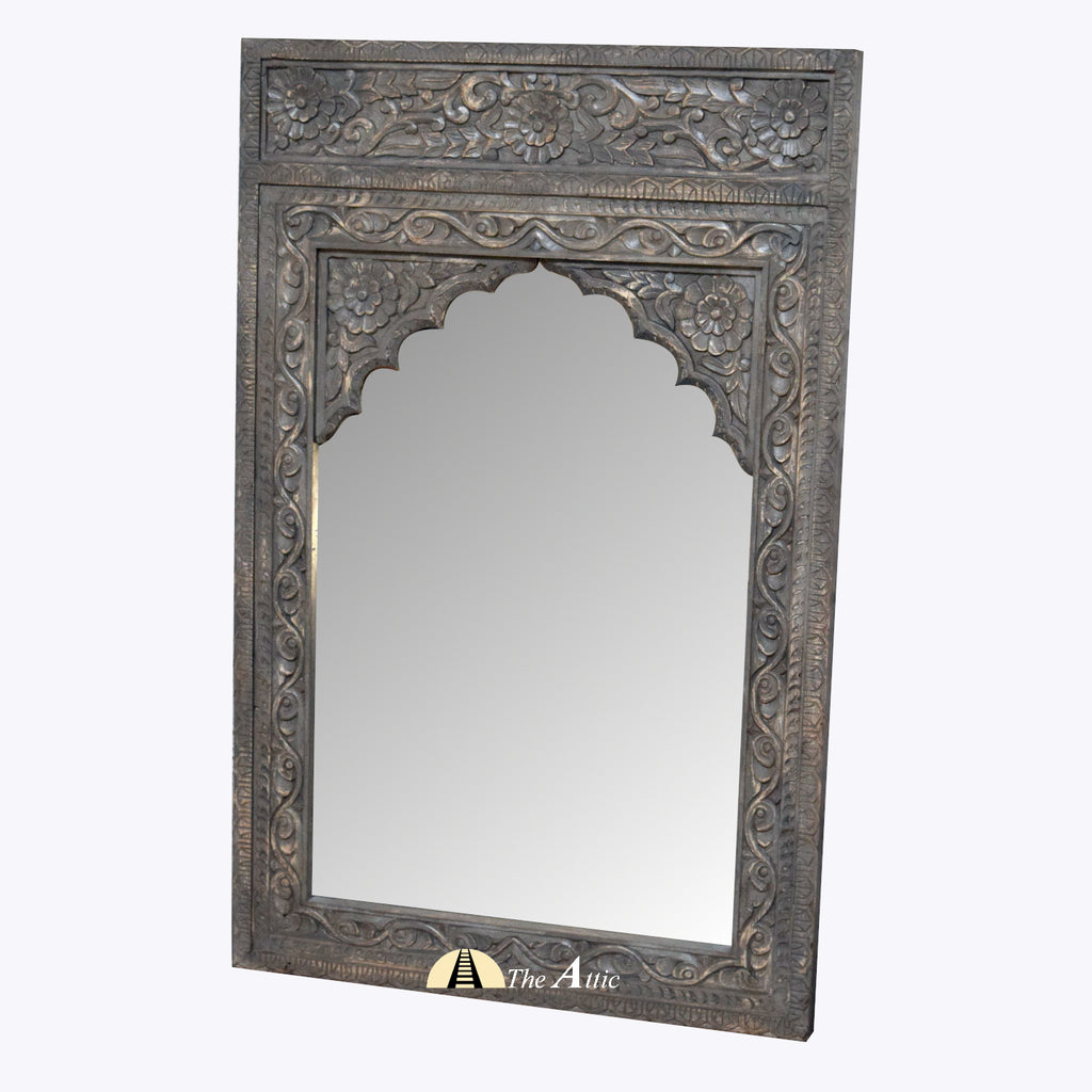 Carved Distressed Rustic Grey Wooden Wall Mirror with Arched Frame