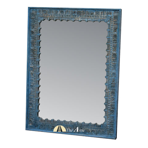 Distressed Rustic Blue Carved Mirror
