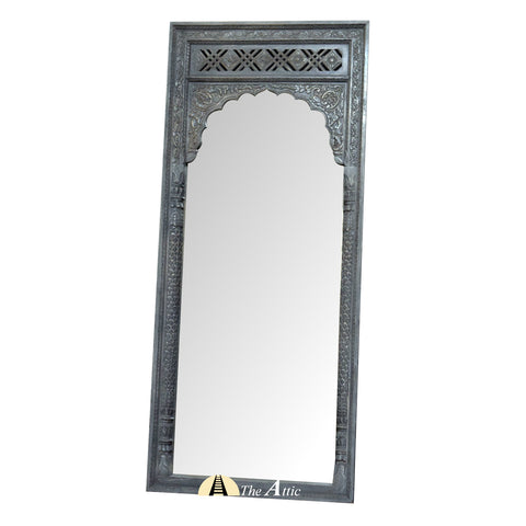 Carved Distressed Rustic Wooden Leaning Mirror with Arched Frame
