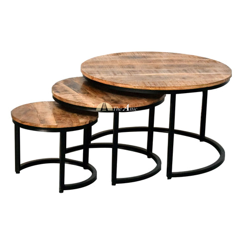Round Industrial Nesting Coffee Tables, The Attic Dubai