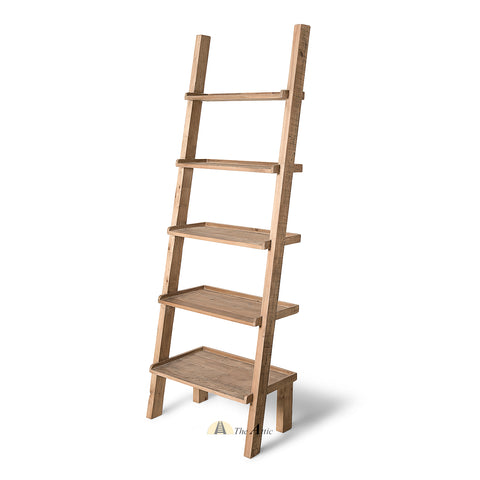 Dallas Rustic Modern Recycled Pine Ladder Shelf - The Attic Dubai