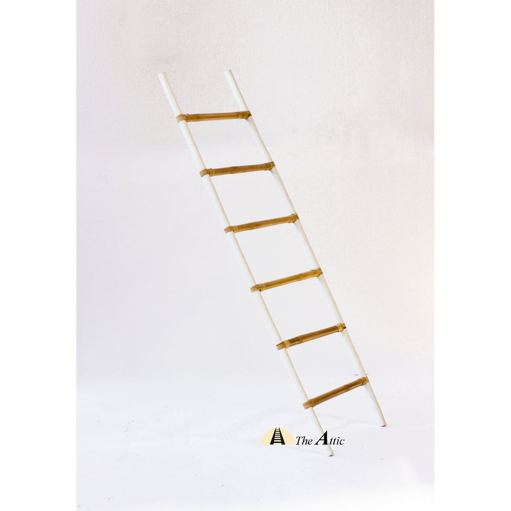 Decorative White Natural Rattan Ladder - The Attic Dubai