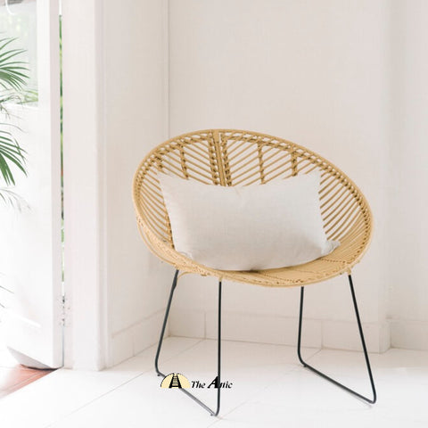 Leaf Rattan Round Tub Lounge Chair; Natural Rattan Wicker Furniture - TheAttic-Dubai.com
